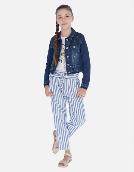 Blue Linen striped pants