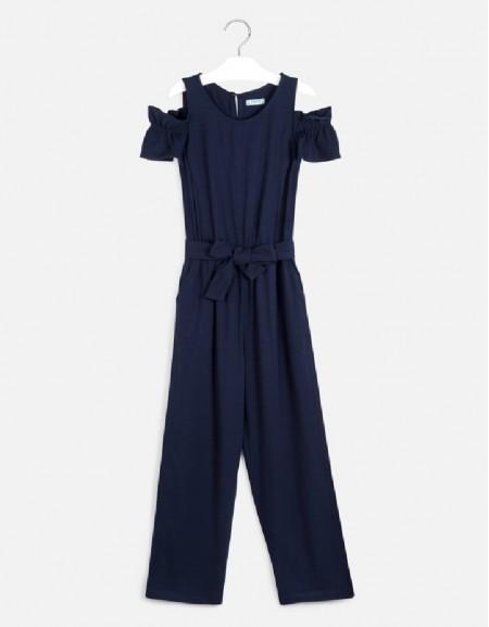 Navy Long pique jumpsuit