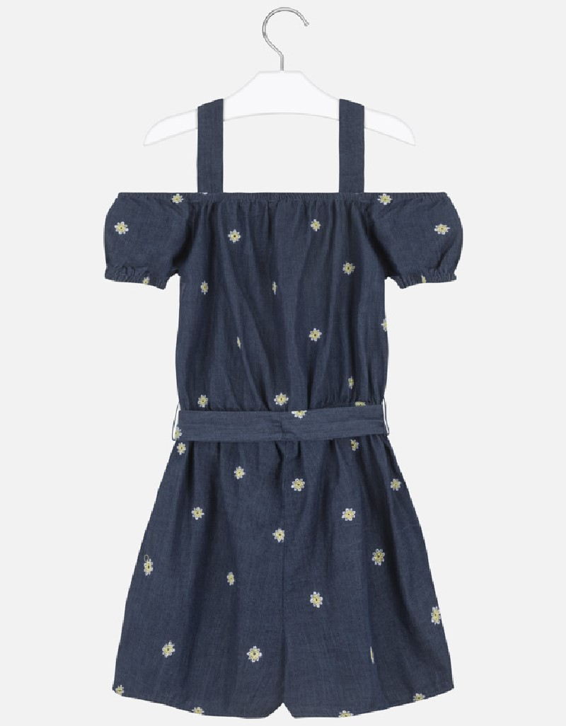 Denim Embroidered denim jumpsuit
