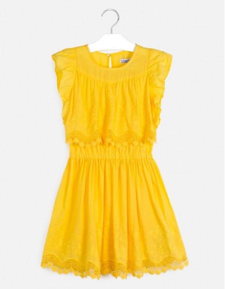 Yellow Embroidered poplin dress