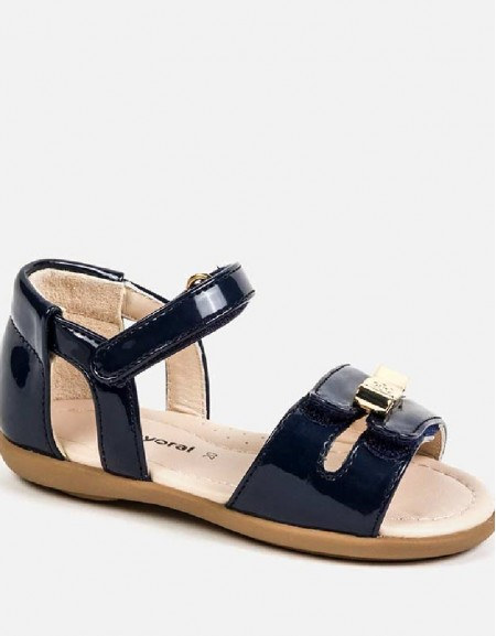 Navy Patent leather sandals