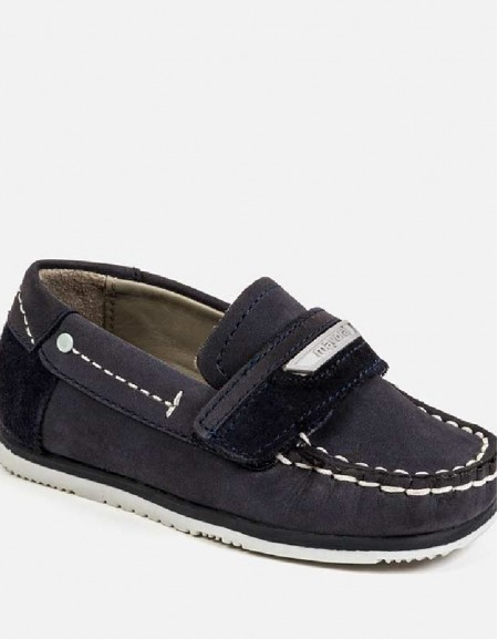 Navy Velcro leather deck shoes