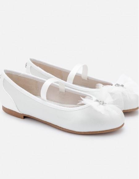 White Tulle ballerina flats