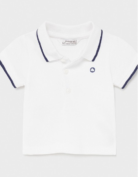 White Short Sleeved Basic Polo Shirt
