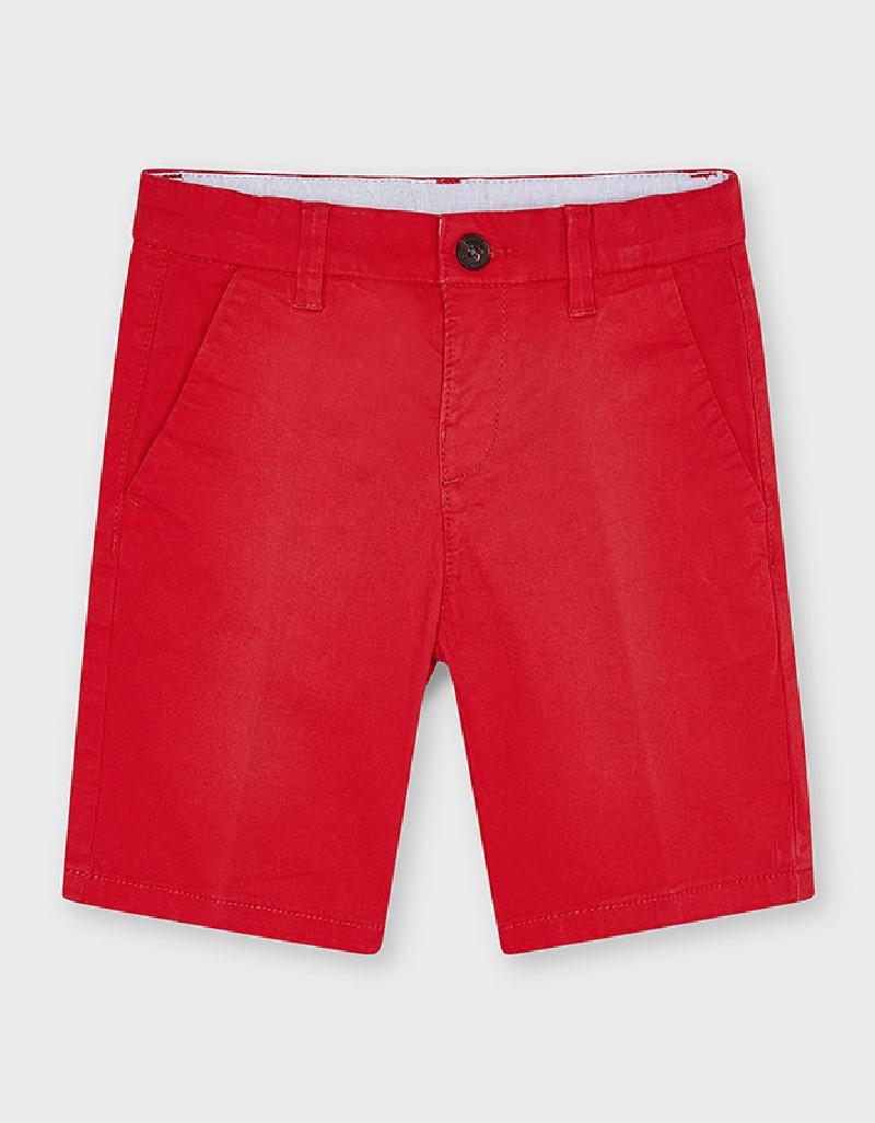 Red Basic Twill Chino Shorts