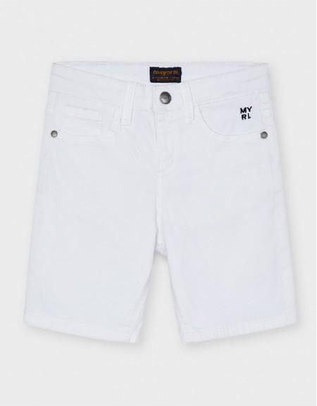 White Basic 5 Pockets Twill Shorts