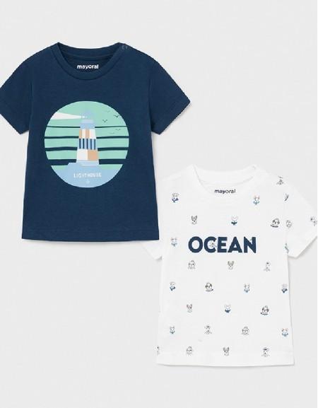 Blue S/S 2 Pcs Printed T-Shirt Set