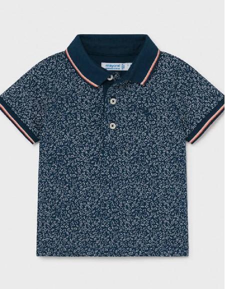 Blue S/S Small Print T-Shirt