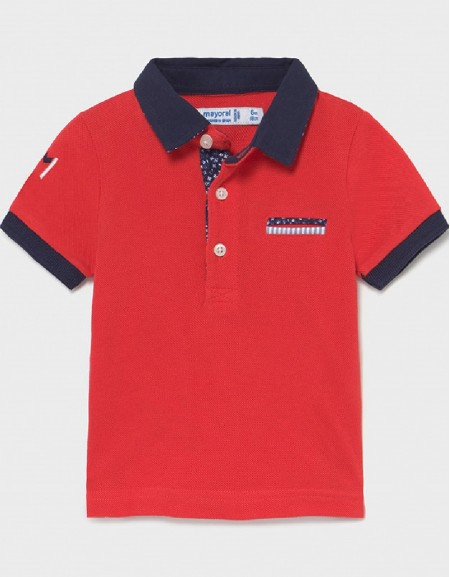 Cyber Red Appliqué Polo For Baby Boy