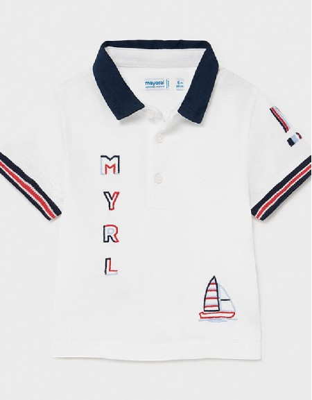 White S/S Embroided Polo