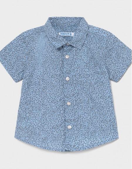 Lightblue Print Short Sleeved Shirt