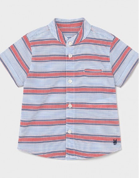 Red Grandad Collar Short Sleeved Shirt