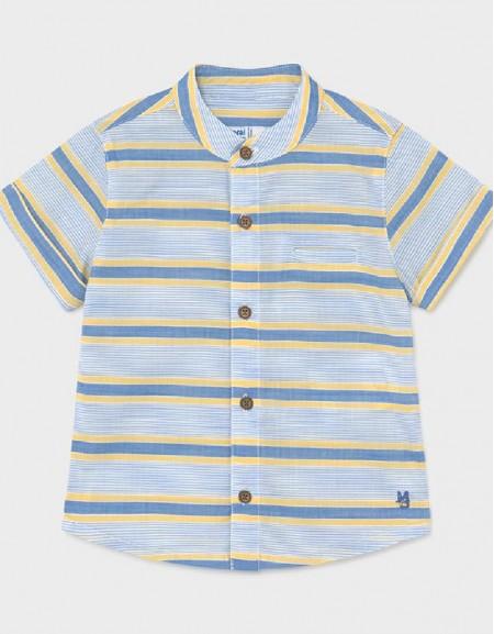 Mango Grandad Collar Short Sleeved Shirt