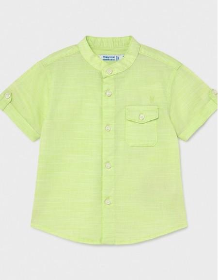 Mint Linen Grandad Collar Short Sleeved Shirt