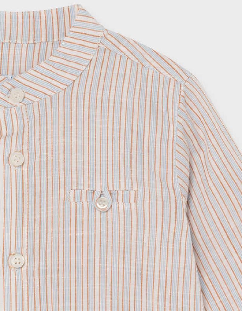 Caramel Linen Stripped L/S Shirt