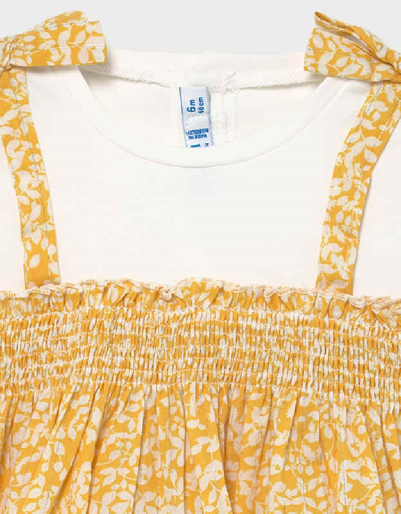 Mustard Combined Knit Blouse