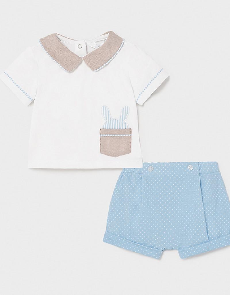 Lightblue Mixed Short Pant Set