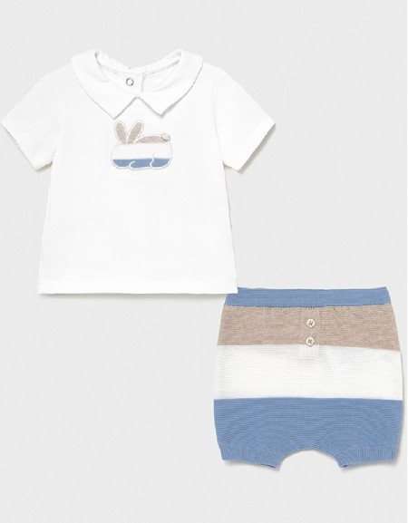 Lightblue Ecofriends Striped Shorts Set