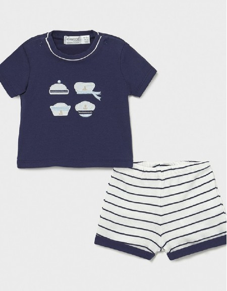 Navy T-Shirt And Shorts Set