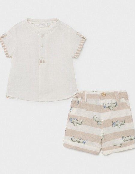 Linen Short Set With Shirt