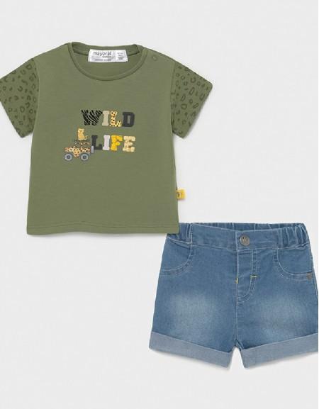 Khaki Denim Shorts Set With T-Shirt For