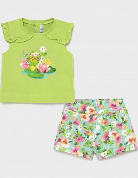 Pistachio Frog Shorts Set