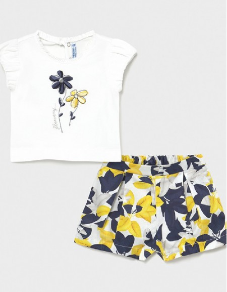 Yellow Embroidered Bermuda Set