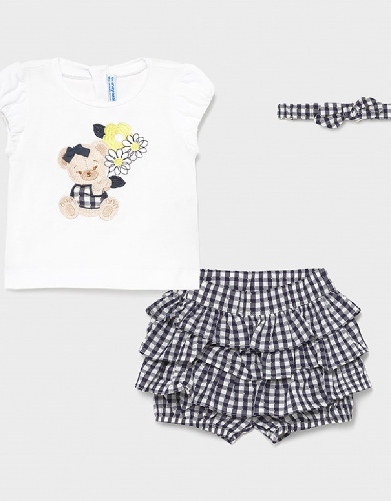 Navy Vichy Ruffle Shorts Set