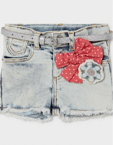 Bleached Denim Shorts With Boy