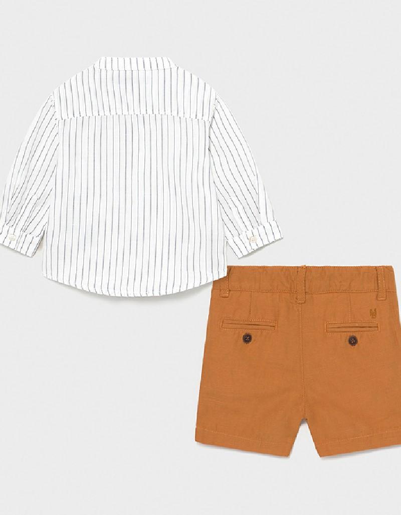 Caramel Grandad Collar Shirt And Shorts Set