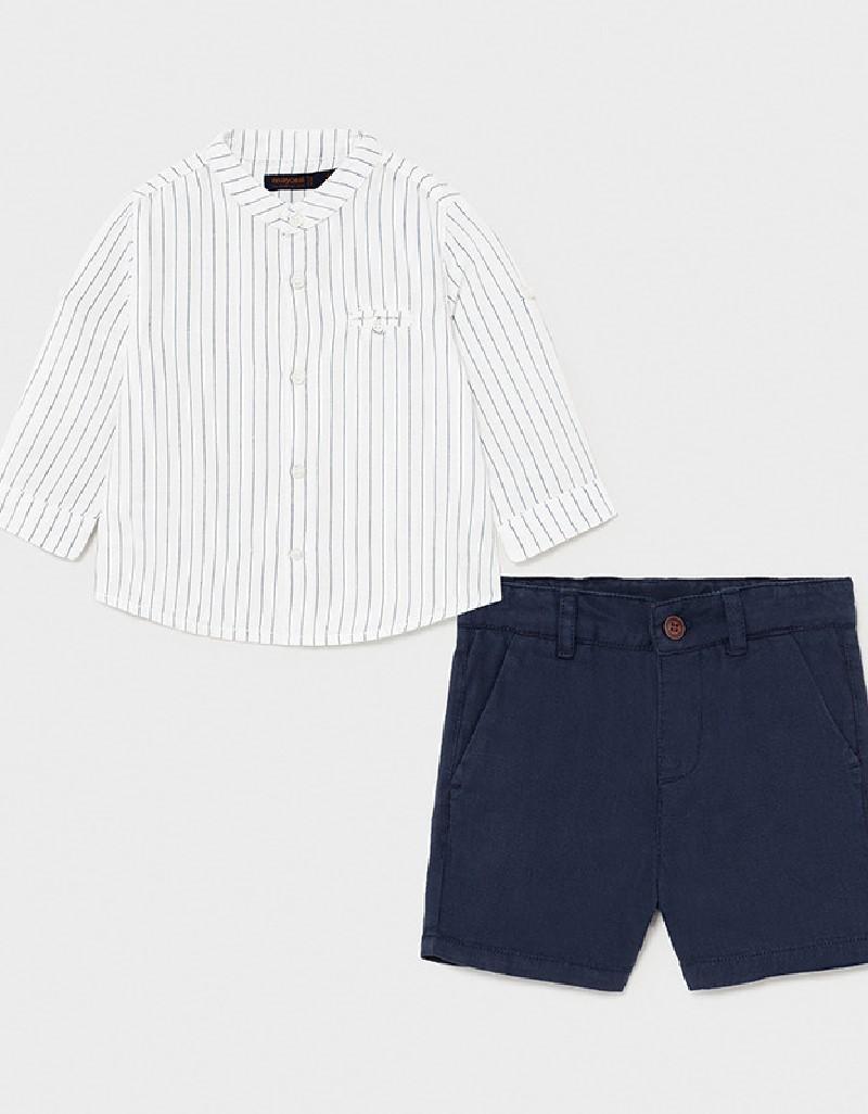 Nautical Grandad Collar Shirt And Shorts Set