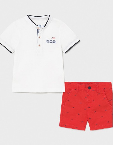Cyber Red Polo And Short Set