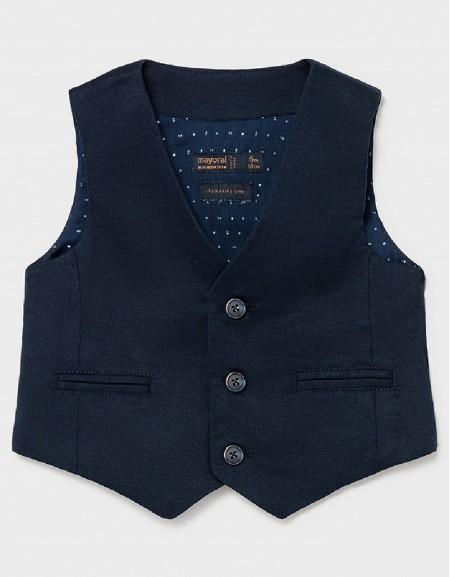 Navy Dressy Linen Vest