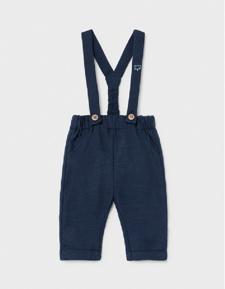 Navy Long Trousers With Suspenders