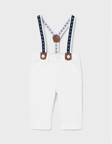 White Long Trousers With Suspenders