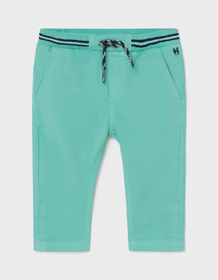 Aqua Patent Waist Twill Pants