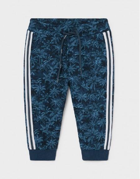Blue Estamped Fleece Pants