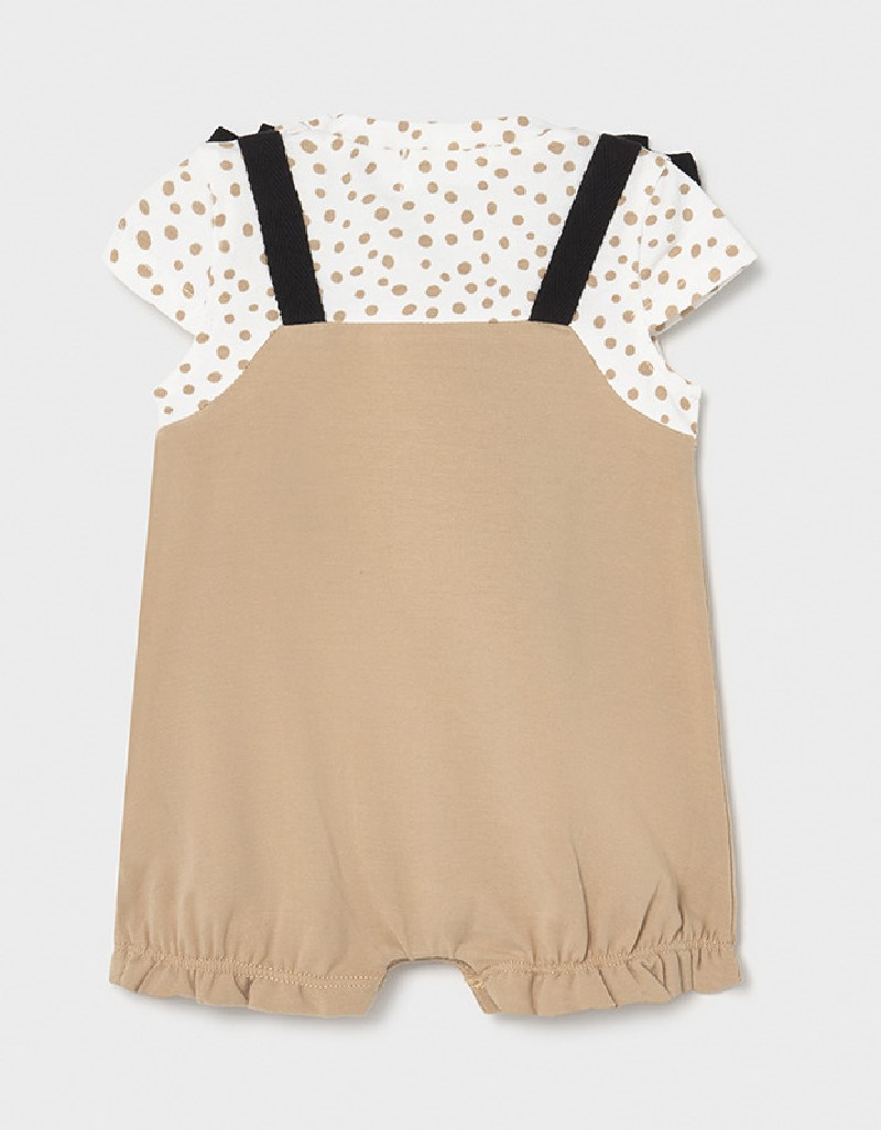 Mocha Overall Onesie With Knit Hat