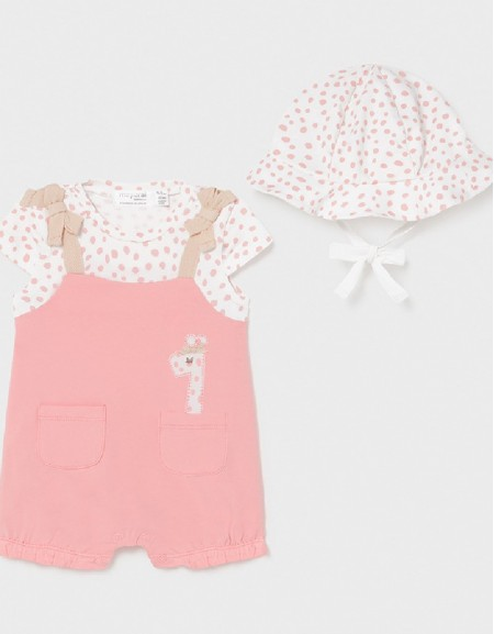 Pink Overall Onesie With Knit Hat