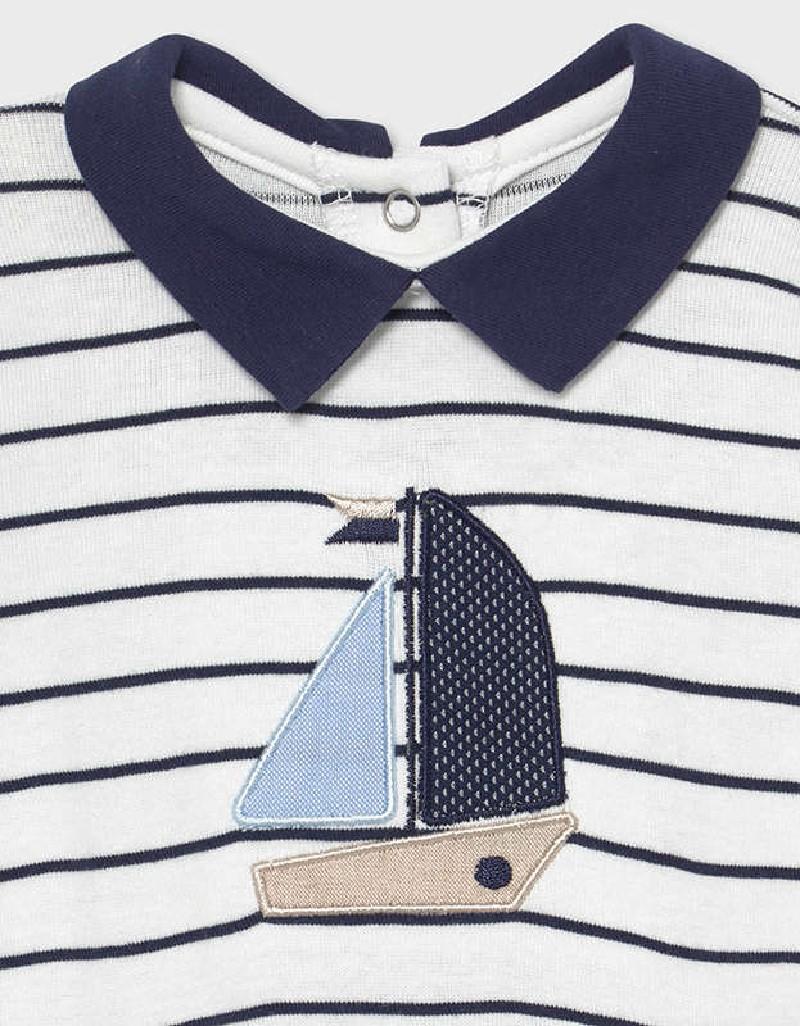 Navy Striped Long Onesie