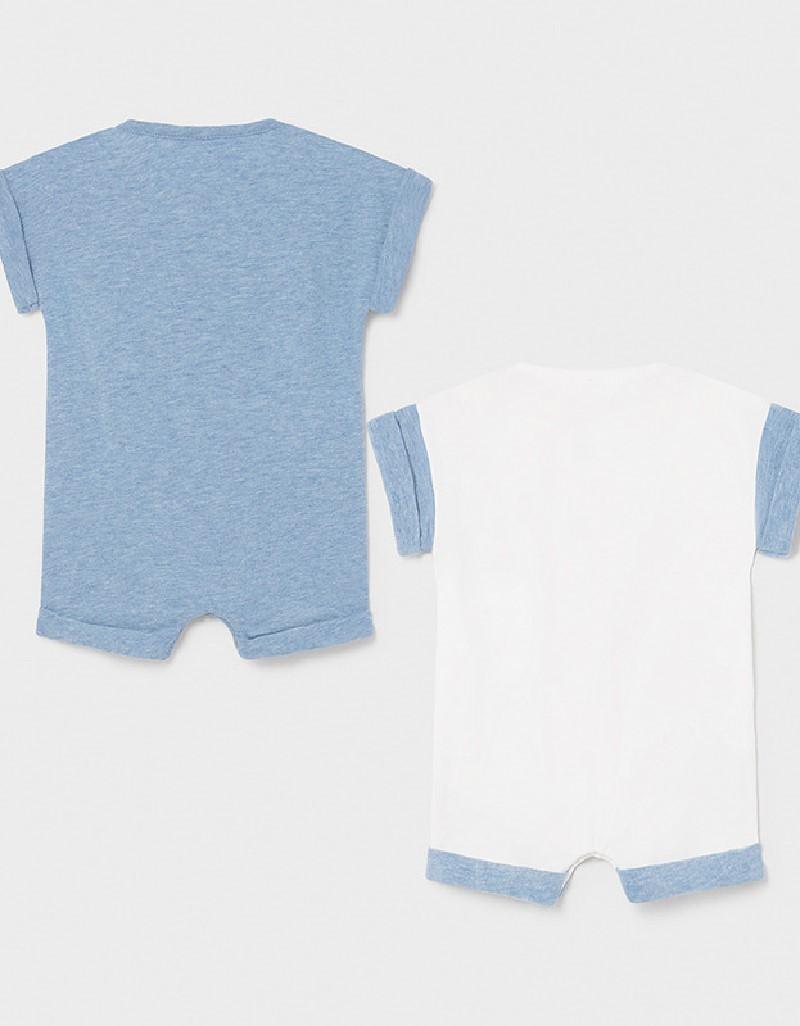 Light Blue Set Of 2 Short Rompers
