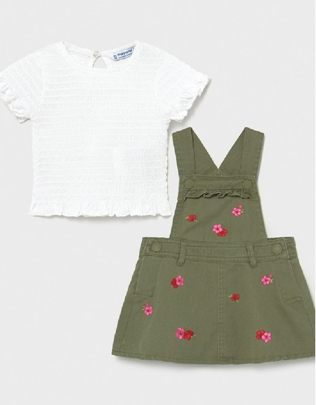 Moss Embroided Skirt Overall Set