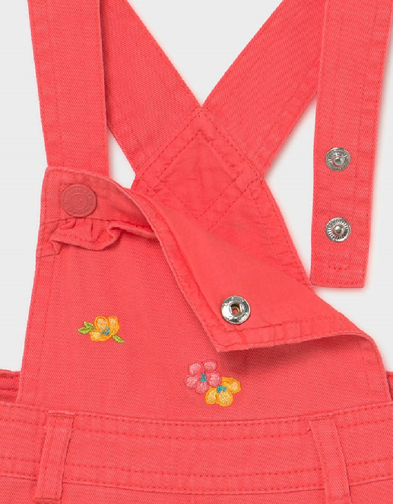 Coral Embroided Skirt Overall Set