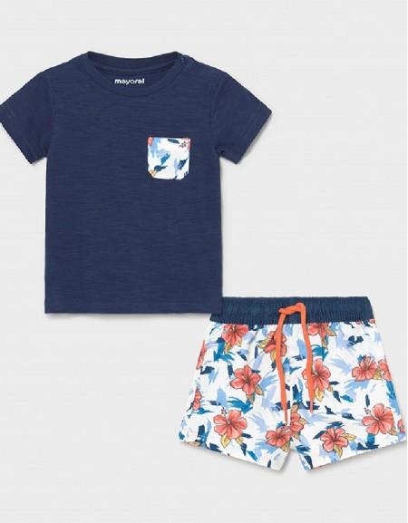 Blue Bathsuit And T-Shirt Set
