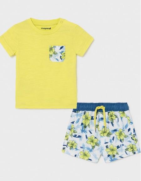 Lime Bathsuit And T-Shirt Set
