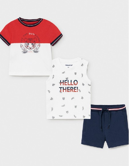 Nautical 3 Piece Knit Set With Tiger