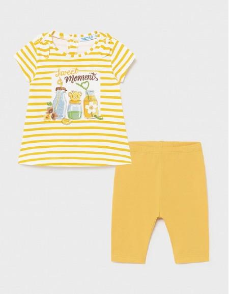 Mustard Stripes Leggings Set