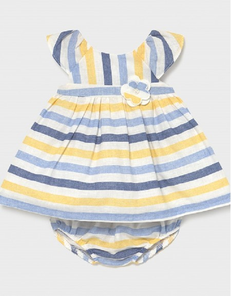 Yellow Linen Stripes Dress