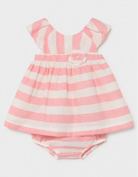 Pink Linen Stripes Dress