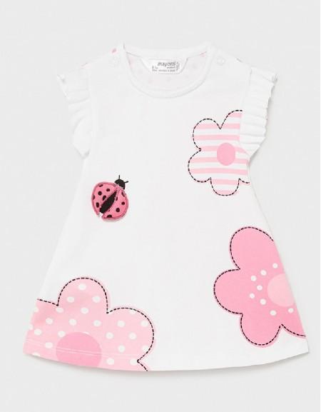 Pink Pleated Flower Dress